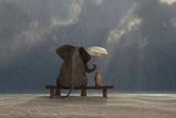 Elephant And Dog Sit Under The Rain Affiches par  Mike_Kiev