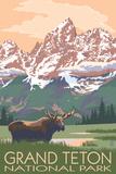 Grand Teton National Park - Moose and Mountains Kunstdrucke von  Lantern Press