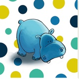 Hippo Stretched Canvas Print by  GraphINC