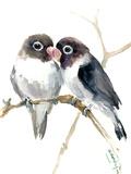 Gray Masked Lovebirds Art by Suren Nersisyan