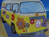 The VW Volkswagen Bully Series - The Lady Flower Power Surf Bus Posters by Markus Bleichner
