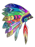 Headdress Colourful Giclee Print by  Indigo Sage Design