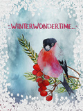 Bird Winter Snow Christmas Illustration 4 Prints by  Grab My Art