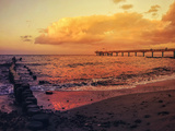 Sundown Sea Pier Beach Posters by  Grab My Art