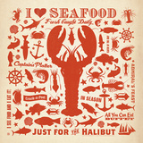 Lobster Pattern Square Print by  Anderson Design Group