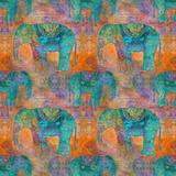 Elephants - Square 2 Prints by  Lebens Art