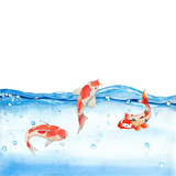 Happy Koi Fishes - Square Art by  Grab My Art
