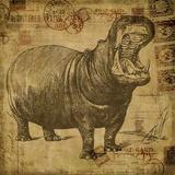 Vintage Hippo Sepia - Square Print by  Lebens Art