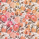 Vintage Flower Orange - Square Prints by  Lebens Art