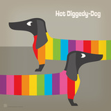 Rainbow Dogs Square Posters by  Anderson Design Group