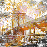 Brooklyn Bridge - Square Print by  Lebens Art