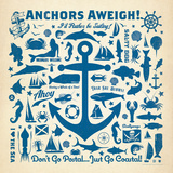 Anchor Pattern2 Square Prints by  Anderson Design Group