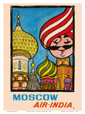 Moscow, Russia - Air India - Saint Basil's Cathedral - Air India's Mascot Maharajah Prints by Umesh Rao