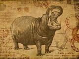 Vintage Hippo Sepia Prints by  Lebens Art