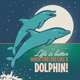 Dolphins Square Prints by  Anderson Design Group