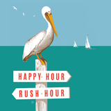 Rush Hour Happy Hour Pelican Square Prints by  Anderson Design Group