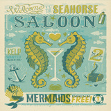 Sea Horse Saloon Square Print by  Anderson Design Group