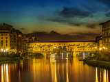Florence Ponte Vecchio At Sunset Stampe di Melanie Viola