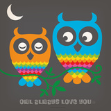 Rainbow Owls Square Poster by  Anderson Design Group