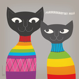 Rainbow Cats Square Prints by  Anderson Design Group