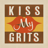 Kiss My Grits Square Print by  Anderson Design Group