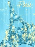 Graphic Style Paris Eiffel Tower Cyan Poster by Melanie Viola