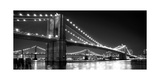 Brooklyn Bridge and Manhattan Bridge at Night Photographic Print by Phil Maier