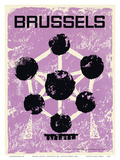 Brussels, Belgium - 1958 World's Fair - Atomium Towers Art by  Pacifica Island Art