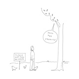 """Person looks up at tree saying """"feed the parrots!"""" - New Yorker Cartoon Premium Giclee Print by Liana Finck"""