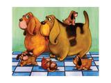 Hounddog Family Picnic Print by  Kourosh
