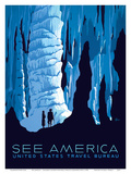 See America - Big Room Cave in Carlsbad Caverns National Park - United States Travel Bureau Posters by Alexander Dux