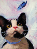 Cat and Butterfly Metal Print by Diane Hoeptner