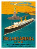 Rotterdam to New York City - Holland-America Line - Statue of Liberty Poster by  Pacifica Island Art