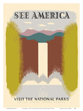 See America - Visit the National Parks - Waterfall Poster by Harry Herzog