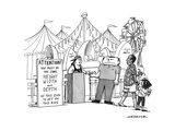 """2-dimensional sign reading: """"Attention! You must be the same height, width... - New Yorker Cartoon Premium Giclee Print by Joe Dator"""