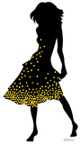 Silhouette Dancer Yellow Sparkles Cardboard Cutouts
