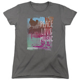 Womens: Woodstock- Peace Love Music Stamp T-Shirt