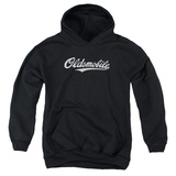 Youth Hoodie: Oldsmobile- Distressed Script Logo Pullover Hoodie