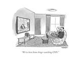 """""""We've been home binge-watching CNN."""" - Cartoon Premium Giclee Print by Pat Byrnes"""