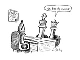 "Queen chess piece saying ""He barely moves!"" about the King to the Bishop. - New Yorker Cartoon Premium Giclee Print by Mike Twohy"