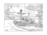 Stakeout In Cuteville Two police officers in a car on the corner of 'Terra... - New Yorker Cartoon Premium Giclee Print by Jack Ziegler