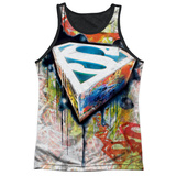 Tank Top: Superman- Urban Shields Black Back Black Back Tank Top
