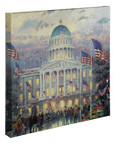 Flags Over the Capitol Reproducción en lienzo de la lámina por Thomas Kinkade