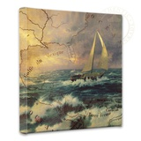 Perseverance Map Collage Stretched Canvas Print by Thomas Kinkade