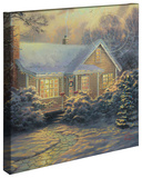 Christmas Cottage Stretched Canvas Print by Thomas Kinkade