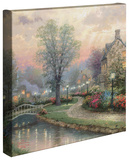 Lamplight Lane Stretched Canvas Print by Thomas Kinkade