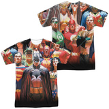 JLA- Wall Of Heroes (Front/Back) Shirt