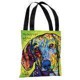 Dachshund with Text Tote Bag by Dean Russo Tote Bag by Dean Russo