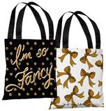 I'm So Fancy Dots/Bows - Black Gold Tote Bag by Timree Tote Bag