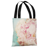 Delicate Peony - Turquoise Pink Tote Bag by OBC Tote Bag